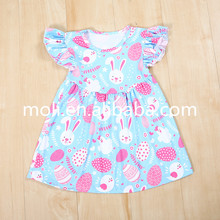 moli 2017 wholesale girls flutter sleeve bunny print cotton summer baby frock design pictures