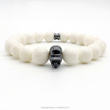 Trendy natural white stone beads bracelet handmade elastic stretch bracelet