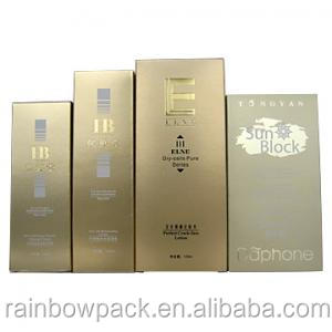 Golden/silver finishing paper box embossed logo printed, facial cream packages, paper box for facial cream packaging