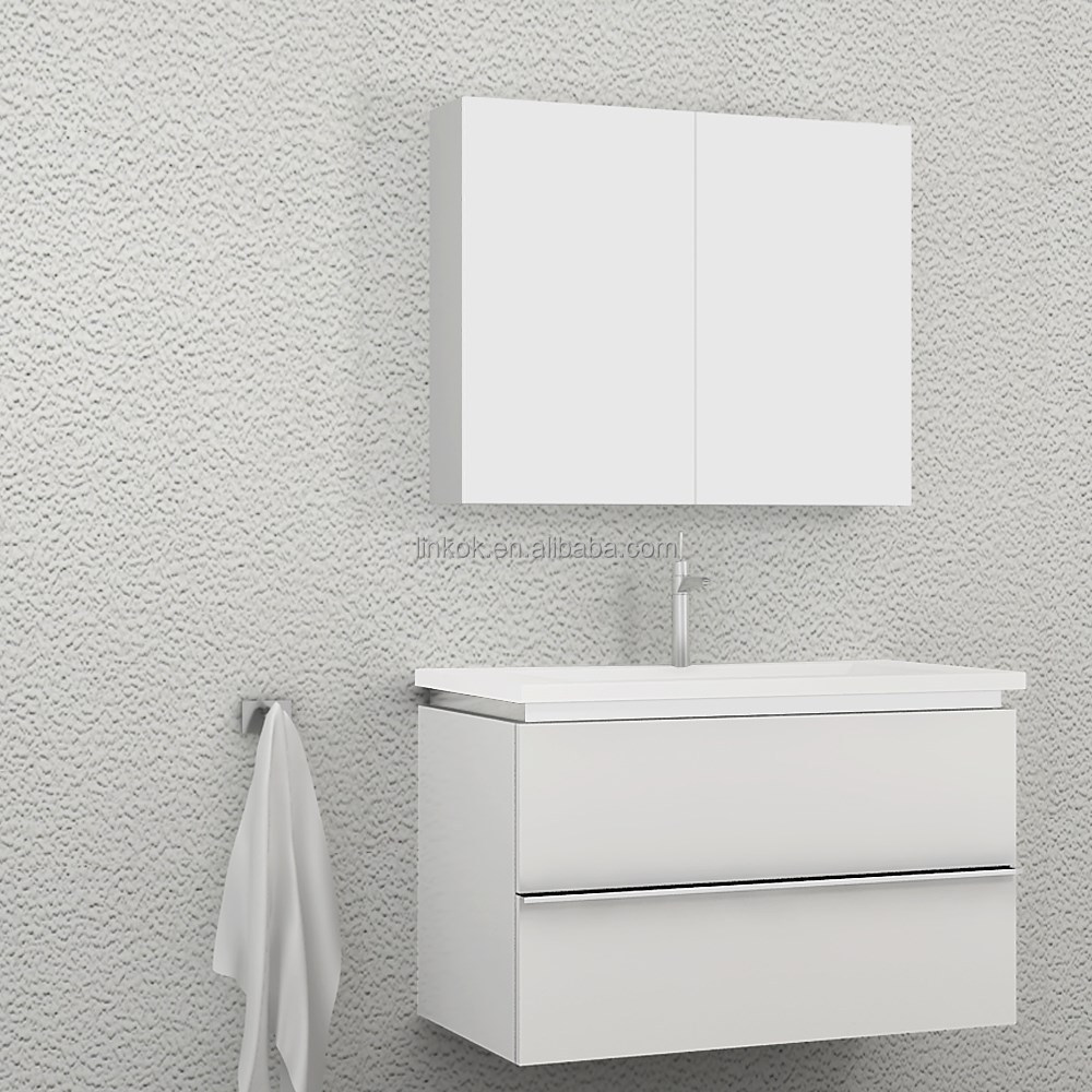 Wall hung simple design with led mirror high gloss bathroom cabinet
