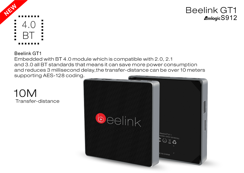 Beelink GT1 2GB/32GB Box Android 6.0 TV Box Amlogic S912 Octa Core 4K 10bit support Kodi