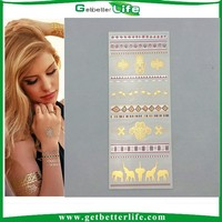 2015 getbetterlife cheap fashion wholesale tattoo stickers gold silver jewel/permanent tattoo sticker/metallic temporary tattoo