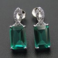 New Designs Rectangle Shaped Green Spinel Stud Earrings 925 Sterling Silver Earrings for Gift