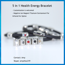 5 in 1 custom bio health magnet negative ion titanium germanium far infrared energy bracelet for promotion gifts