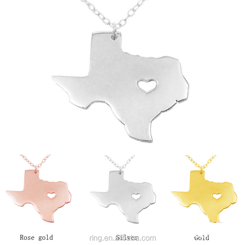 Stainless Steel Map Necklace, 3 Colors Available, We Love Texas, Best Gift TX