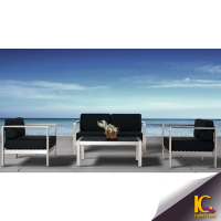 2015 Hot sell all weather Outdoor/Garden/Hotel furniture brushed Aluminum and plastic wood black Lounge /sofa set