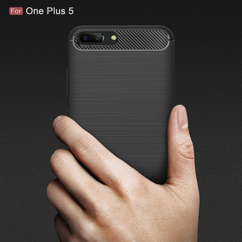 2017 New Arrival Carbon Fiber Tpu case for OnePlus 5 soft cover