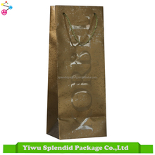 High Quality Luxury Art Paper Wine Bag with Logo UV & Hot Stamping
