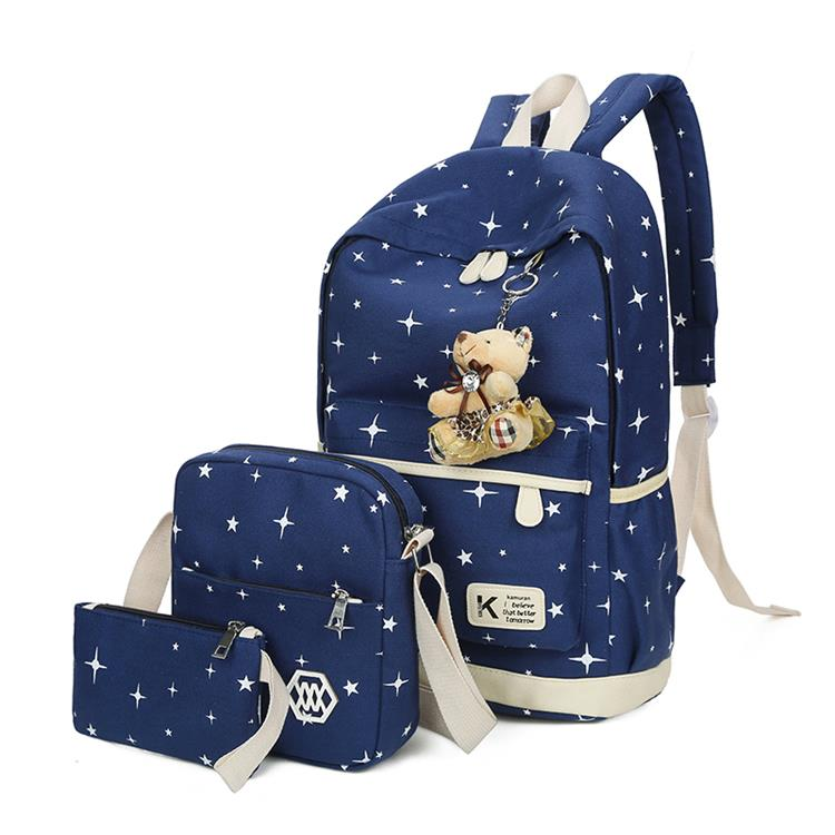 Fashion schoolbag set leisure canvas school backpacks for teen girls