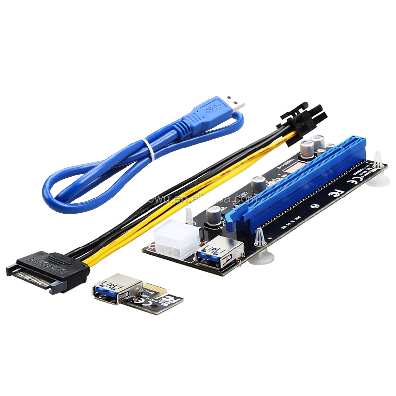 4 pins pci-e 1x to 16x risers with 6 pins power connector bule cable 65CM cable