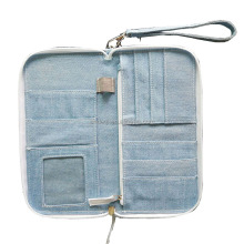 Promotional travel multifuction passport holder business card holder bag denim passport bag