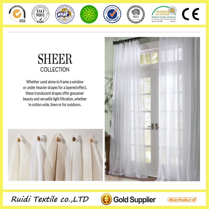 ready made natural linen sheer curtain , polyester sheer curtain