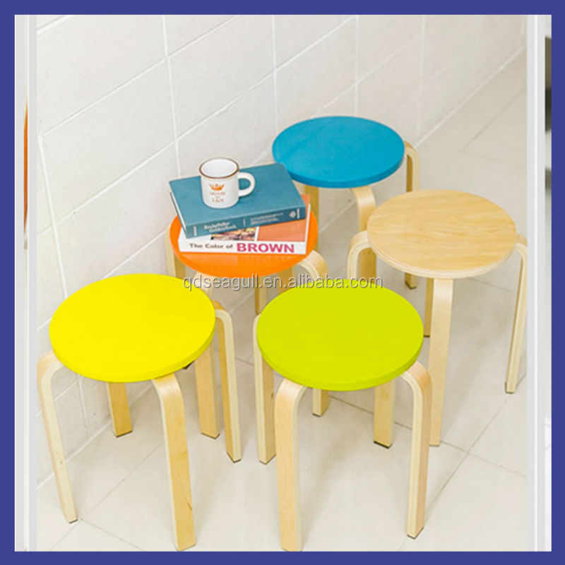 Hot sale!birch bentwood frame steady design round top stool