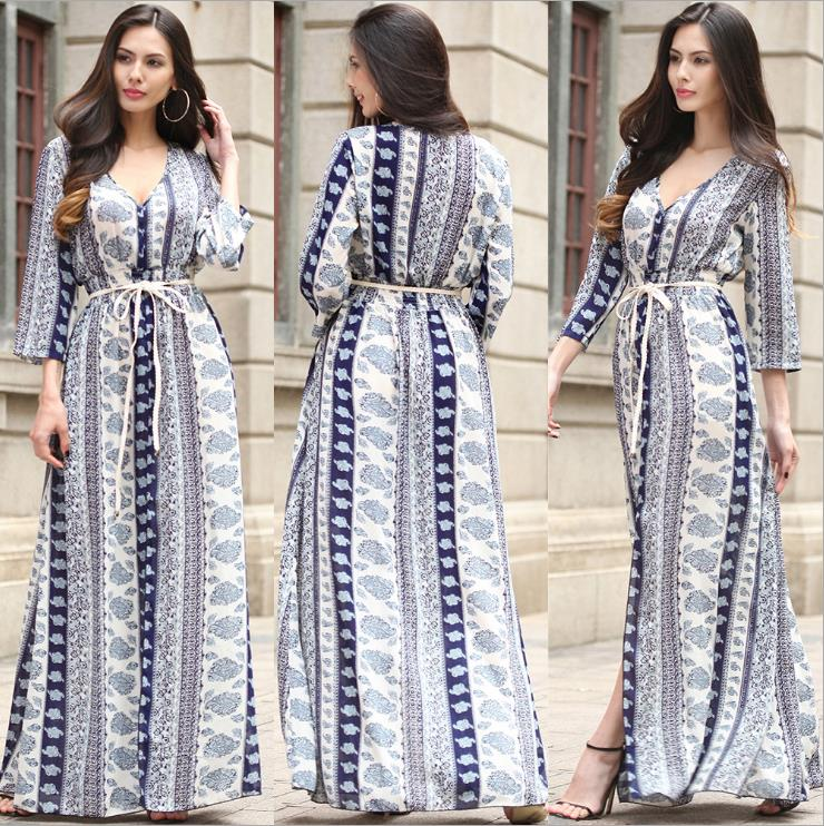 Summer Women Clothing Manufacturer Wholesale Side Split Bohemian Chiffon Dress Boho Belted Floral Print Long Sleeve Maxi Dress