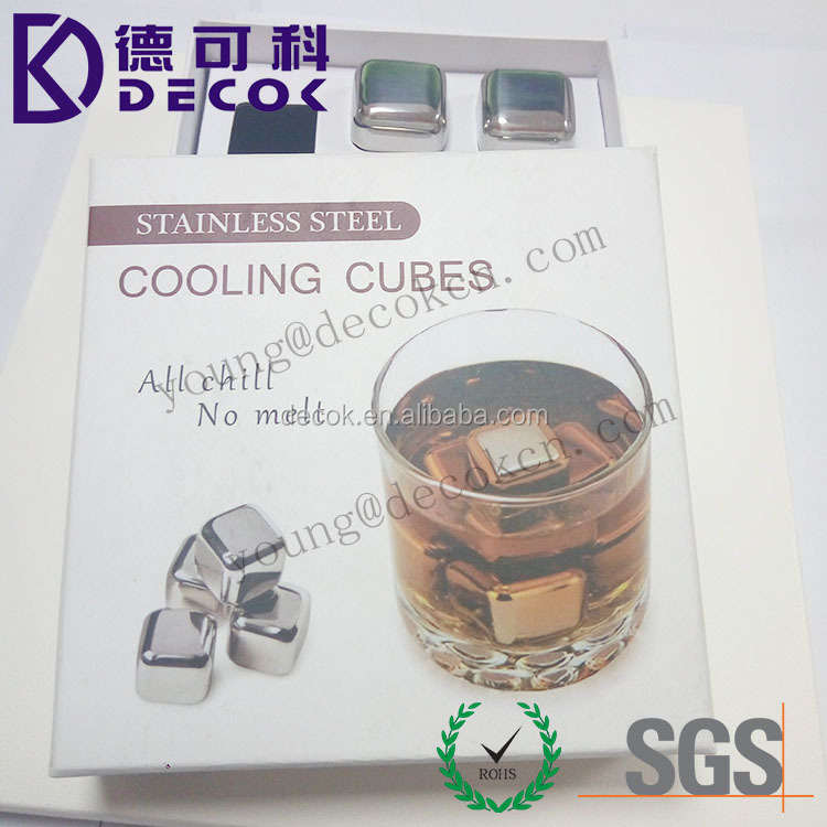 Stainless Steel Reusable Wine Cooling Cubes with Ice Tongs, Whiskey Chilling Rocks