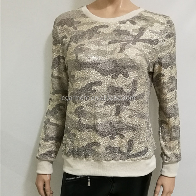 fashion design camouflage printed lady blouse woman top