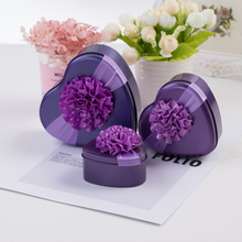 Heart shaped wedding candy tin box with flower ribbon decoration