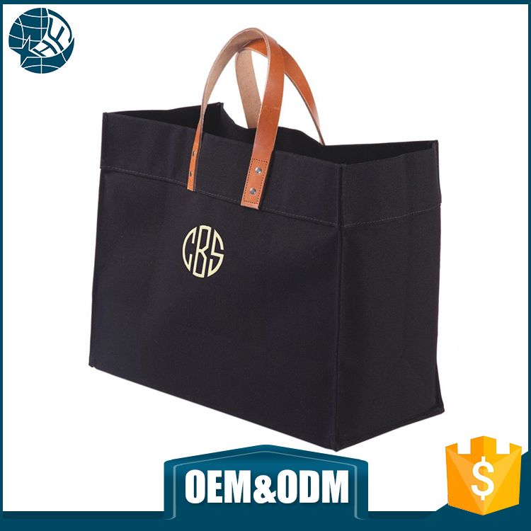 oem black heavy canvas travel packaging bags leather handle large canvas tote bag