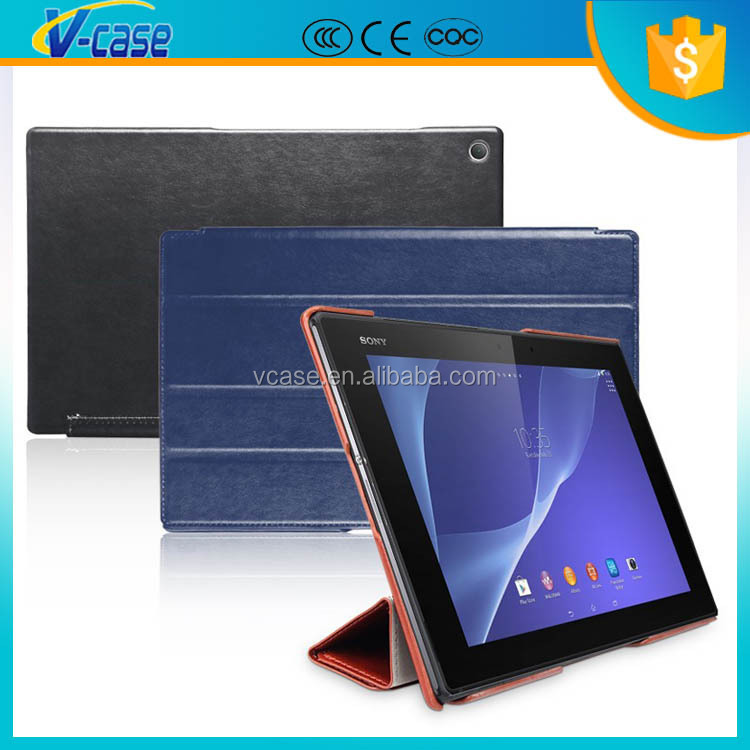 Ultra thin flip smart stand cover leather case for sony tablet s