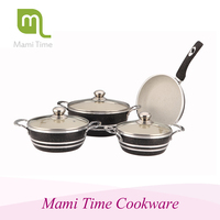 Die-cast aluminum white ceramic cookware set for wholesale