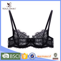 Hot Sale Graceful Push Up Transparent Lace Ladies Sexy Panty And Bra Sets