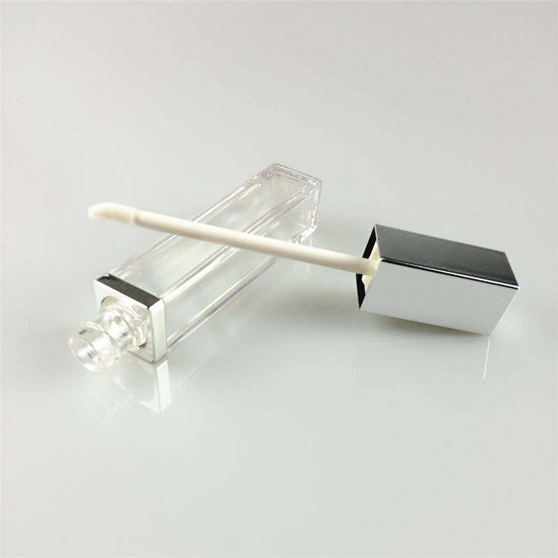 5ml square shape injection matte silver cap custom lip gloss containers