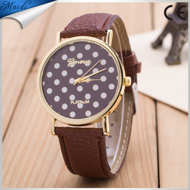 2016 Attractive Lovely Bright Color Leather Band Ladies Girls Women Leather Small Dots Watch Quartz Wrist Watch GW049