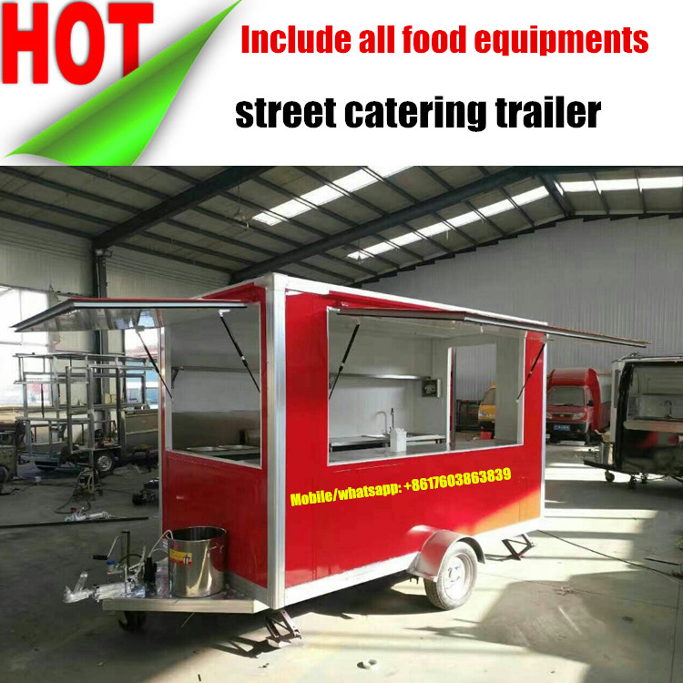 towable fast mobile food trailer catering truck, mobile food cart, food trucks for sale in china
