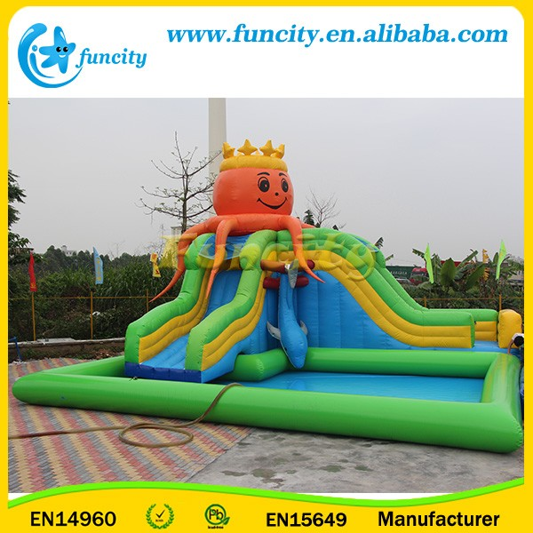 Hot Sale! Inflatable Octopus and Dolphin Theme Water Park on Land with Slides and Swimming Pool