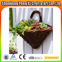 Hot selling wicker wall hanging flower baskets with plastic liner