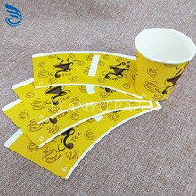 new product Custom logo printed die-cut paper cup fan and bottom paper