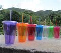Advertising double wall water cup with lid plastic cup with straw