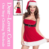 Full Open Ladies Sexy Body Santa Dancing Costumes for Christmas