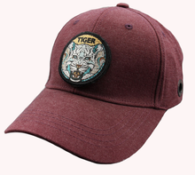 Solid Red wine baseball cap with metal clasp Custom Tiger head round badge logo removable Baseball cap hat