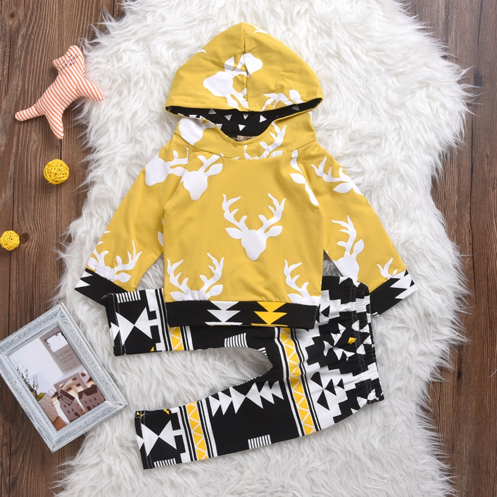 Baby Girls Clothes Set 2017 Children Clothing Sport Suit Hooded Outfits Suit Deer Costume For Kids Clothes Long Sleeve Sets
