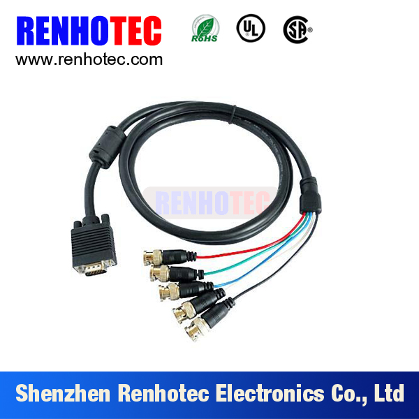 CCTV RGB VGA D SUB DB15 Pin to 5 Male BNC Coaxial Connectors Cable