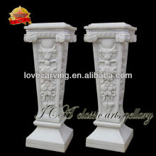 Natural white marble roman pillar with carved for home PP0150