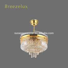 Modern fan Lamp indoor living room remote control led crystal chandelier light