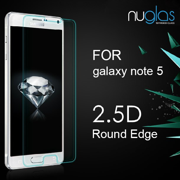 Nuglas new arrival 0.3mm 2.5D curved tempered glass screen protector for samsung galaxy Note 5 anti-shock screen gurad