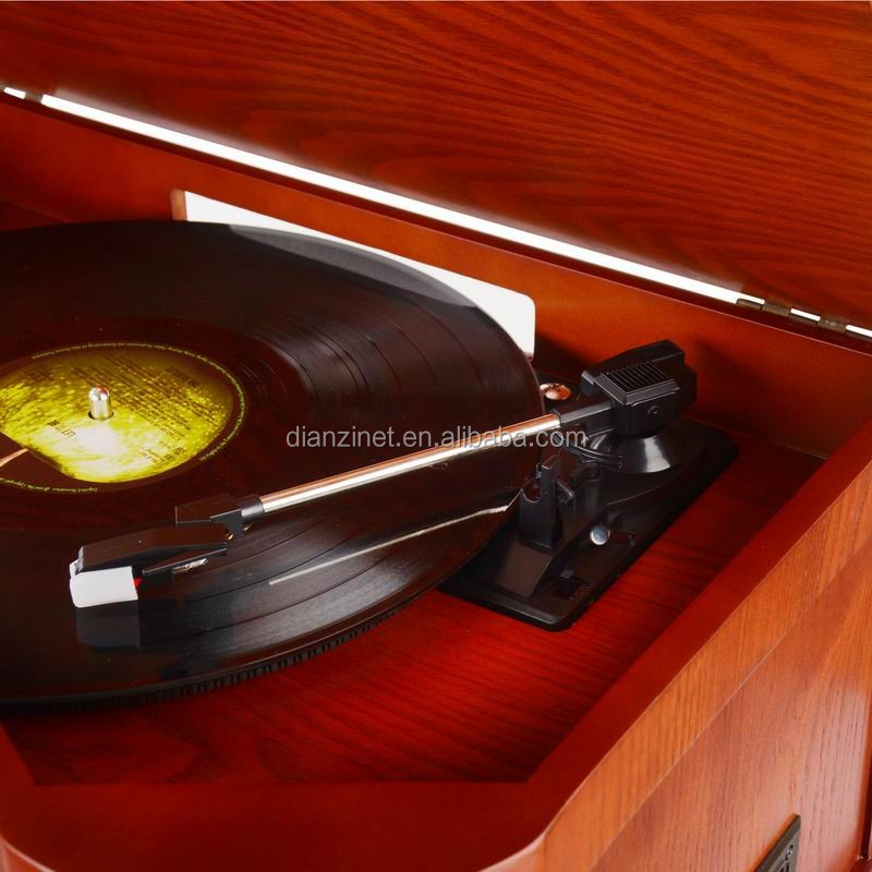 Classical vintage phonograph nostalgic gramophone with AM/FM radio, bluetooth, USB, CD player, and tape