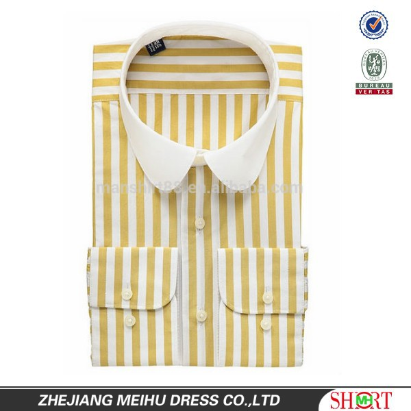Club Collar Yellow-white Striped Slim Fit Tailored Mens Shirts ...