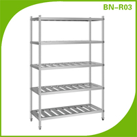 Restaurant kitchen stainless steel shelves