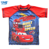 Boy's short sleeve rushgusrd with Cartoon car modelling