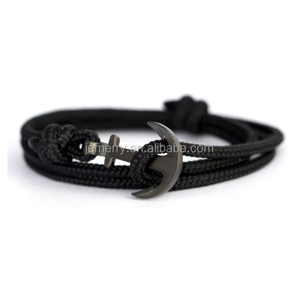 Handmade New Small Anchor Bracelet Black Men Stainless Steel Nautical Anchor with Paracord Rope Bracelet Anchor