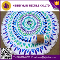 Best quality 100% cotton large round beach towel for wholesales