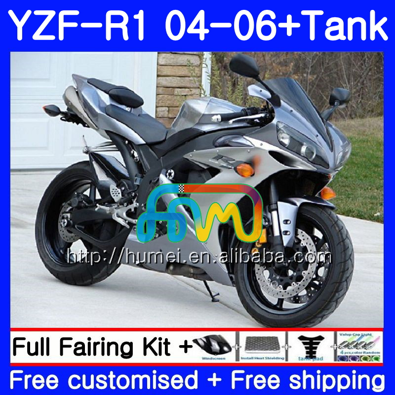 Body kit For YAMAHA YZF 1000 R 1 YZF <strong>R1</strong> <strong>04</strong> 05 06 Silver grey 95HM61 YZF-1000 YZF-<strong>R1</strong> 2004 2005 2006 YZF1000 YZFR1 <strong>04</strong> 06 <strong>Fairing</strong>