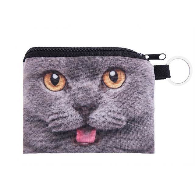 british cats Bag Coin purse ladies 3D printing Wallets For Womens Cat Pattern Female fashion cute small zipper bag  CP018