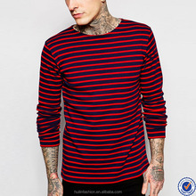 online shopping crew neck t shirt for men long sleeve 100% cotton black and red stripe tshirts