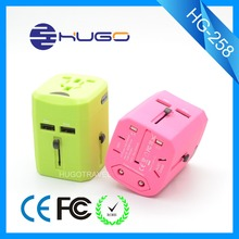 World to US UK EU AU standard universal Smart phone dual usb travel adapter