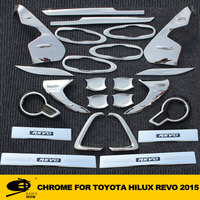Complete Full Set of Exterior Chrome accessories with 3M Tape fits TOYOTA REVO 2015 chrome car accessories